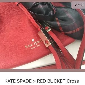KATE SPADE RED BUCKET BAG WITH SCARF